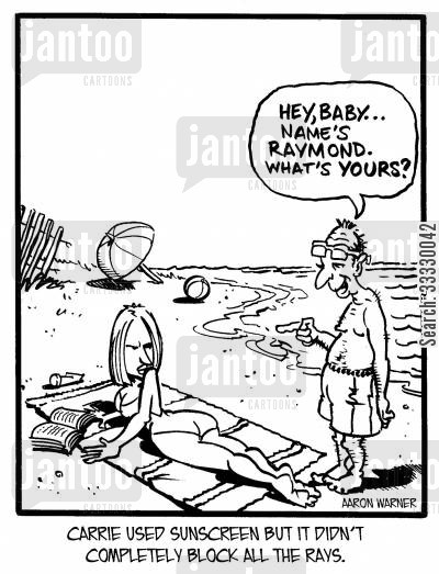 sun bathing cartoon humor: Carrie used sunscreen but it didn't completely block all the Rays. 'Hey, baby...Name's Raymond.What's yours?'