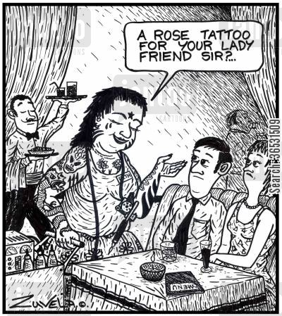 roses cartoon humor: 'A rose tattoo for your lady friend sir?...' A female Tattooist offering a rose tattoo, in the way of the old Rose Ladies in clubs and pubs