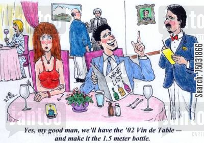 metric cartoon humor: 'Yes, my good man, we'll have the '02 Vin de Table - and make it the 1.5 meter bottle.'