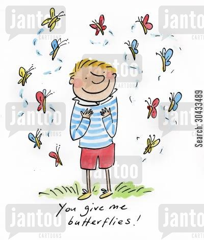 falling in love cartoon humor: You give me butterflies
