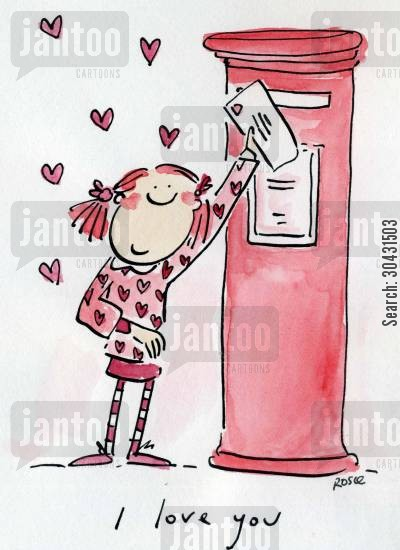 postbox cartoon humor: I love you.