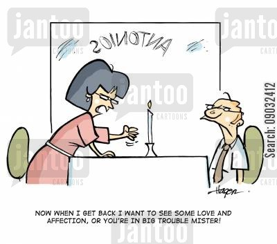 show affection cartoon humor: Now when I get back I want to see some love and affection, or you're in big trouble mister!