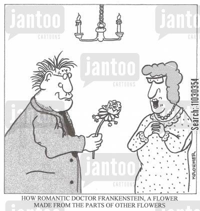 february cartoon humor: 'How romantic Dr Frankenstein, a flower made from the parts of other flowers.'