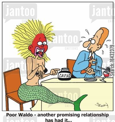 merpeople cartoon humor: Poor Waldo - another promising relationship has had it...