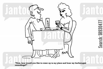 pick-up line cartoon humor: 'Now, how would you like to come up to my place...'