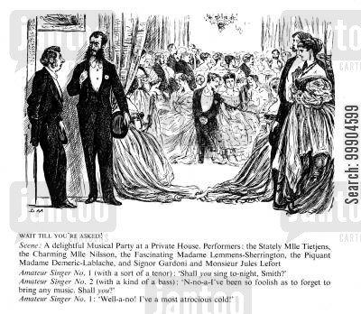 george du maurier cartoon humor: Musical party at a private victorian house.