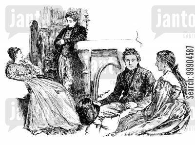 gaskell cartoon humor: Illustration for 'Wives and Daughters', scene 1.