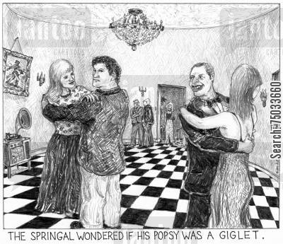 dictionary cartoon humor: 'The springal wondered if his popsy was a giglet.'