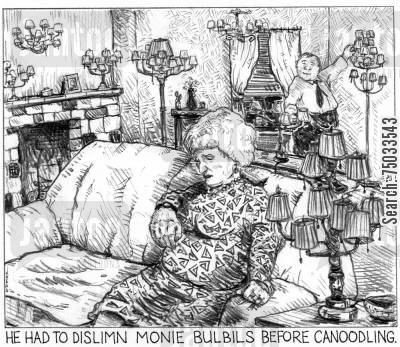 aura cartoon humor: 'He had to dislimn monie bulbils before canoodling.'