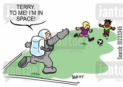 astronaught cartoon humor: Terry, to me! I'm in space!