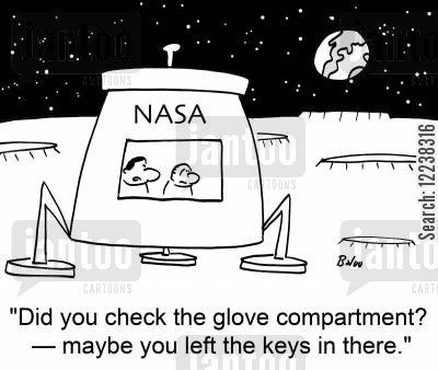 glove box cartoon humor: 'Did you check the glove compartment? -- maybe you left the keys in there.'