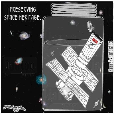 canning cartoon humor: Preserving space heritage.