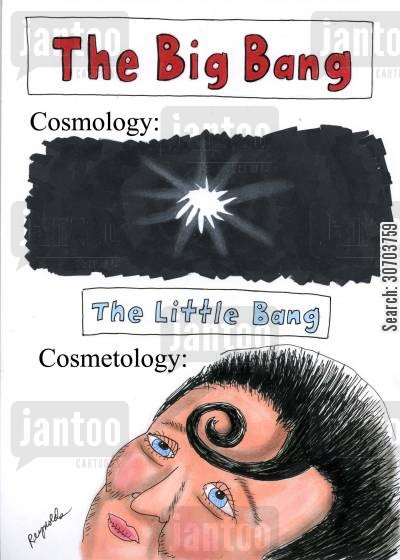 cosmologist cartoon humor: The difference between cosmology and cosmetology.