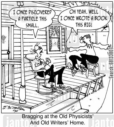 bragger cartoon humor: 'Bragging at the Old Physicists' & Old Writers' Home.'