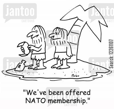 desert island cartoon humor: 'We've been offered NATO membership.'