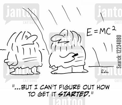 theorems cartoon humor: '...But I can't figure out how to get it started.'