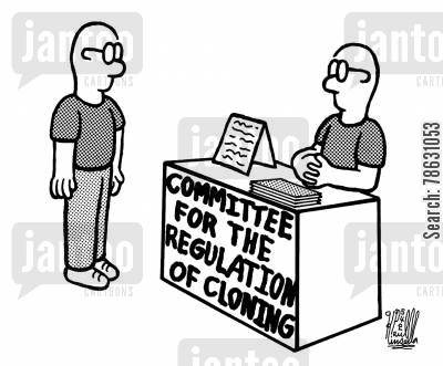 stem cell cartoon humor: committee for the regulation of cloning