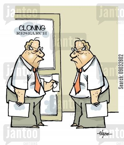 cloning researcher cartoon humor: Cloning Research.