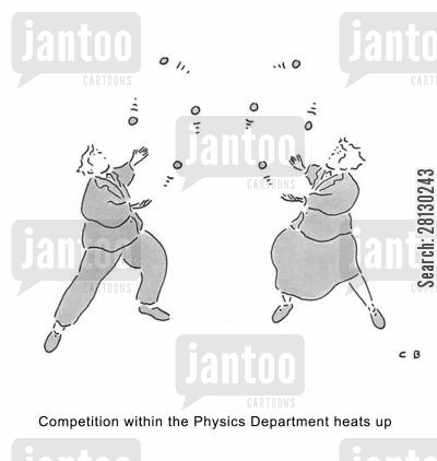 juggler cartoon humor: Competition within the Physics Department heats up.