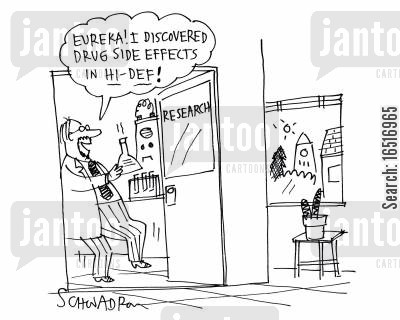 eureka moments cartoon humor: 'Eureka! I discovered drug side effects in HD!'