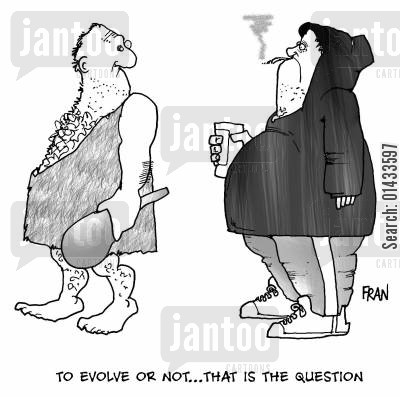the ascent of man cartoon humor: To evolve or not...that is the question.