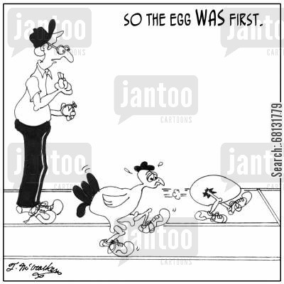 track meet cartoon humor: 'So, the egg WAS first.'