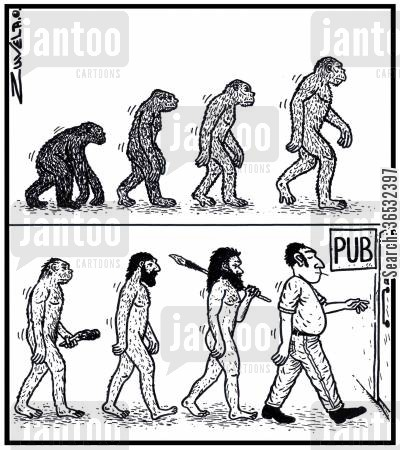 evolution of man cartoon humor: Man's evolution to the Pub.