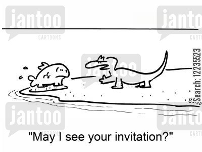 darwins cartoon humor: 'May I see your invitation?'