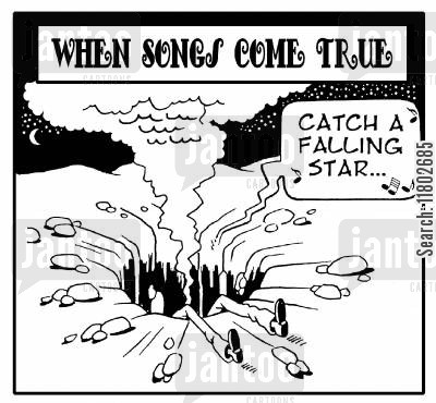 meteorites cartoon humor: When songs come true...catch a falling star.
