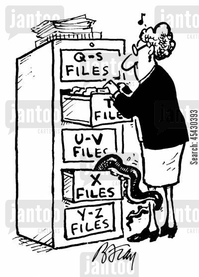 administration cartoon humor: Woman going through files being grabbed by weird creature in X Files.