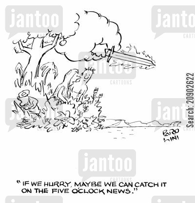 asteroid cartoon humor: 'If we hurry, maybe we can catch it on the five o'clock news.'