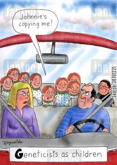 irritate cartoon humor: Geneticists as children: 'Johnnie's copying me!'
