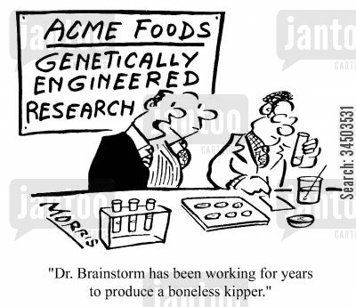 kippers cartoon humor: Acme Foods, Genetically Engineered Research - Dr. Brainstorm has been working for years to produce a boneless kipper.