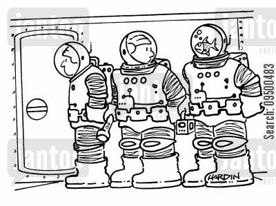fishbowl cartoon humor: Astronaut with a fish bowl for a helmet.