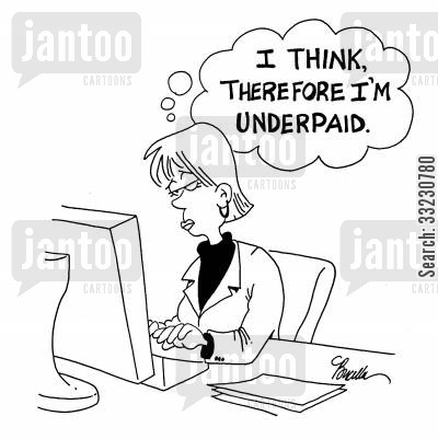 rene descartes cartoon humor: I think, theerfore I am underpaid