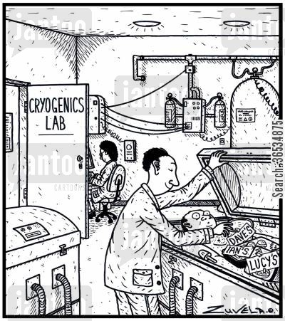 cancers cartoon humor: A staff member getting his ice cream out from a Cryogenics body storage container, using it as a staff work fridge