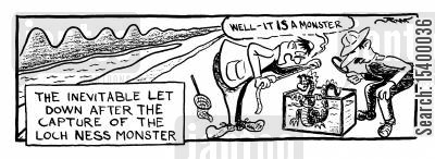 disappointment cartoon humor: The Inevitable Let Down After The Capture Of The Lock Ness Monster