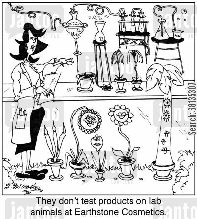 product test cartoon humor: They don't test products on lab animals at Earthstone Cosmetics.
