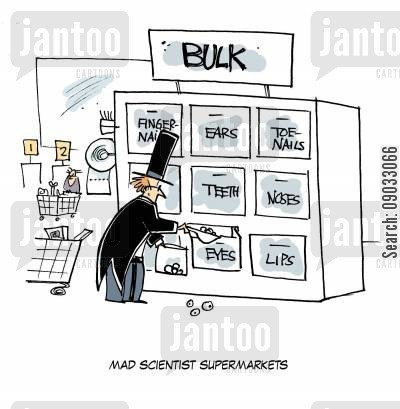 food shopper cartoon humor: Mad Scientist Supermarkets.
