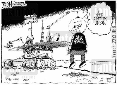 trade unions cartoon humor: Mars Rover.
