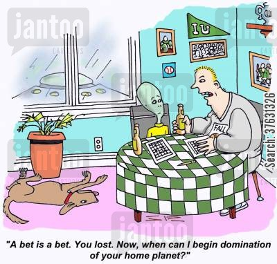 domination cartoon humor: Alien loses sports bet,