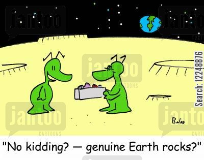 moon rock cartoon humor: 'No kidding? -- genuine Earth rocks?'
