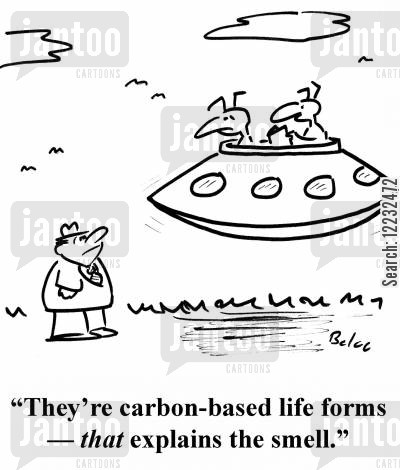 explainations cartoon humor: 'They're carbon-based life forms — that explains the smell.'