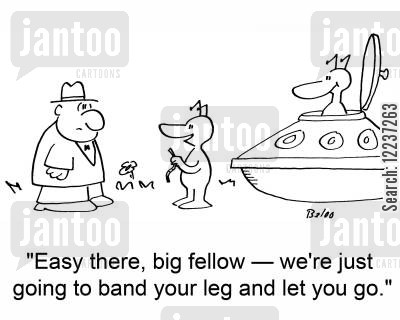 tagging cartoon humor: 'Easy there, big fellow -- we're just going to band your leg and let you go.'