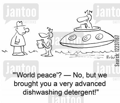 dishwashers cartoon humor: ''World peace'? -- No, but we brought you a very advanced dish washing detergent!'