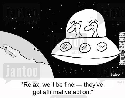 affirmative cartoon humor: 'Relax, we'll be fine -- they've got affirmative action.'