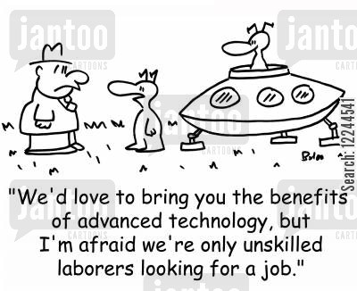illegals cartoon humor: 'We'd love to bring you the benefits of advanced technology, but I'm afraid we're only unskilled laborers looking for a job.'