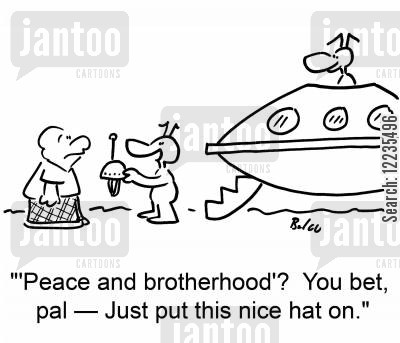 brotherhood cartoon humor: ''Peace and brotherhood'? You bet, pal -- Just put this nice hat on.'
