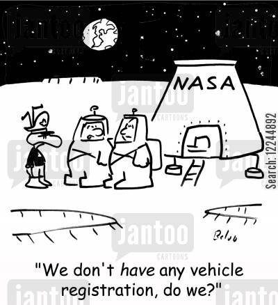 martians cartoon humor: 'We don't have any vehicle registration, do we?'