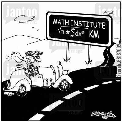 metric system cartoon humor: The Math Institute √π*962.9 KM